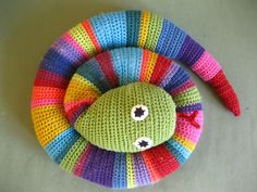 Colourful crochet snake to use up leftover bits? No pattern needed here...