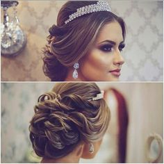 Wedding updo - All For New Hairstyles Quince Hairstyles, Wedding Tiara Hairstyles, Quinceanera Hairstyles, Bride Hairstyles, Bridal Hair Buns, Bridal Updo, Wedding Updo, Diy Wedding, Fall Wedding Makeup
