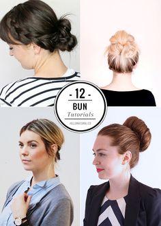 12 Easy Styles to Better Your Bun   http://hellonatural.co/12-bun-tutorials/