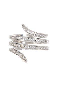 Savvy Cie Sterling Silver Pave CZ Wrap Ring