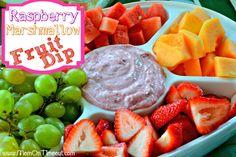 Raspberry Marshmallow Fruit Dip   MomOnTimeout.com #fruit #dip