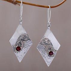 Garnet dangle earrings, 'Fern Kites' - Sterling Silver and Garnet Rhombus Dangle Earrings Indonesia