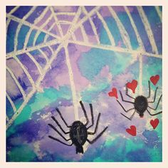 Spiders in love (wax resist and watercolors)