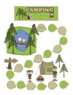 Camping Game- What fun! This game goes along with any outdoors and/or camping units. The tent game cards are BLANK! They can be customized to fit . Language Activities, Camping Activities, Camping Hacks, Camping Ideas, Camping Checklist, Outdoor Activities, Camping Parties, Camping Theme, School Themes