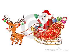 Vector Illustration of Cartoon Santa Claus on a Sleigh with a Reindeer and gifts.