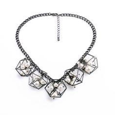 Faux Pearl & Gunmetal Cubed Bib Necklace MG136