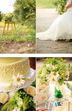Pretty cream, yellow, and green wedding plz repin, like or follow!