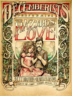 The Hazards of Love The Decemberists Poster Super Stylish Illustrations by Karl Kwasny The Decemberists, Concept Album, Band Posters, Rock Posters, Music Posters, Expressive Art, Concert Posters, Vintage Advertisements, Rock Art