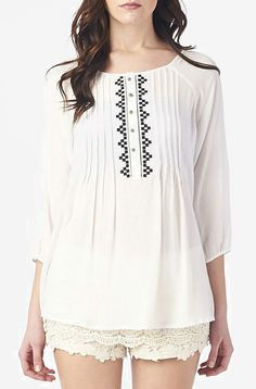 White Pleated Button-Up Swing Top