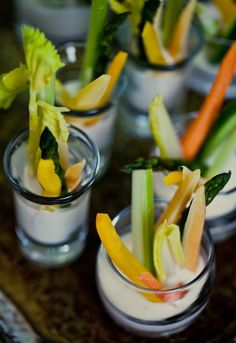 Whats Better Than Veggie Cups For A Baby Shower? How About Individual Spring Crudité With Buttermilk-Black Pepper Dip...This Is A Wonderful Little Treat & Can Be Made Ahead A Day Of Time...Click On Picture For Types Of Veggies & Recipe For Dip...