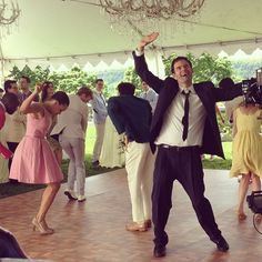 """Bill Hader dancing while filming """"New Xanax"""" pre-tape for the Season 38 finale. [Photo credit: Oz Rodriguez]"""