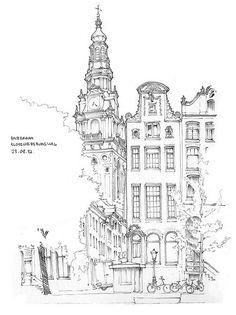 Fabulous Drawing On Creativity Ideas. Captivating Drawing On Creativity Ideas. Croquis Architecture, Art Et Architecture, Architecture Diagrams, Sketch Painting, Drawing Sketches, Art Drawings, Drawing Ideas, City Sketch, Building Sketch