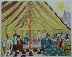 'Village Show' by Edward Bawden, 1946 (lithograph) Village Fete, Pottery Designs, Printmaking, Folk, British, Gallery, Drawings, Illustration, Kunst