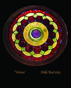 """""""Victoria"""" by recycled stained glass artist Nikki Root in Utah. Made from 100% recycled glass. GORGEOUS."""
