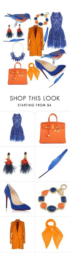 """Blue bird"" by haileyyyyc on Polyvore featuring Zuhair Murad, Hermès, Lizzie Fortunato, Christian Louboutin, 1st & Gorgeous by Carolee, STELLA McCARTNEY, Louis Vuitton and Kate Spade"
