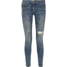 Current/Elliott The Ankle Skinny mid-rise jeans (335 BRL) ❤ liked on Polyvore featuring jeans, pants, mid denim, mid rise skinny jeans, blue skinny jeans, destroyed skinny jeans, skinny fit jeans and destroyed jeans