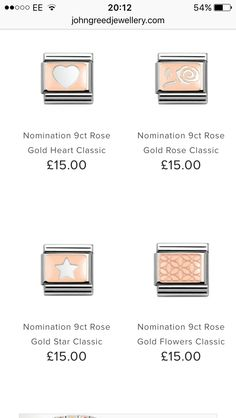 Would like a new nomination charm! Nomination Charms, Classic Gold, Gold Flowers, Gold Stars, Rose Gold, Charmed, Italy, Jewellery, Bracelets