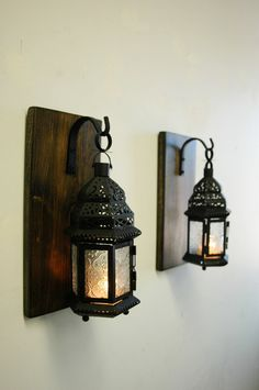 Clear glass Moroccan Lantern set (2), Moroccan decor, Modern decor, shabby chic decor, lantern candle, Wall sconce, stained pine
