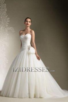 A-line Strapless Sweetheart Tulle Wedding Dress - IZIDRESSES.COM
