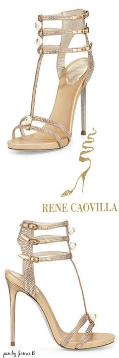 Rene Caovilla | Fall 2015 | Pearly T-Strap Leather Sandal, Beige