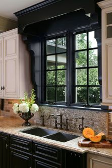 Fabulous Kitchen Window Frame-out. (*If the kitchen includes a statement-piece range hood, the window frame-out design must be carefully considered or eliminated. Kitchen Redo, Kitchen And Bath, Kitchen Remodel, Kitchen Ideas, Kitchen White, Grand Kitchen, Design Kitchen, Kitchen Cabinets, Kitchen Cupboard