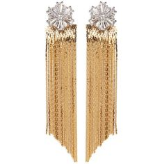 Venna Glass crystal snowflake fringe drop jacket earrings ($168) ❤ liked on Polyvore featuring jewelry, earrings, metallic, boho style jewelry, studded jewelry, boho jewellery, bohemian style earrings and earring jewelry