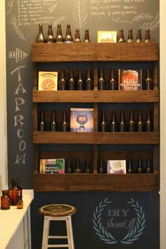 Display your beer on a stained, mounted pallet.