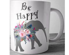 Elephant Mug Be Happy Watercolor Mug Elephant by JustPhoneCases