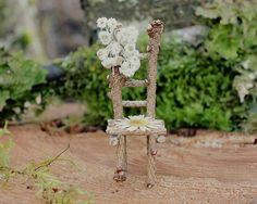 Fairy Chair made harvested Branches and Flowers we harvested and pressed from our Property    Out in our beautiful Pacific Northwest forest