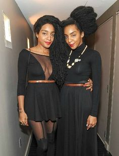 UrbanBushBabe Cipriana(left) and twin sister songwriter, lyrcist, and rapper TK Wonder (right).love their style! Wonder Twins, Tk Wonder, Long Natural Hair, Natural Hair Styles, Quann Sisters, Cipriana Quann, Celebrity Twins, Twin Models, Hair Shrinkage