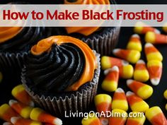Black frosting is easier to make if you start with chocolate frosting. Black Frosting, Icing Frosting, Icing Recipe, Chocolate Frosting, Frosting Recipes, Cake Recipes, Dessert Recipes, Desserts, Orange Frosting