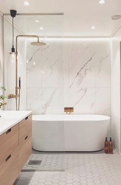 15 bathrooms remodel ideas Design your bathroom with inexpensive - #bathroomideas Bathroom Tile Designs, Bathroom Interior Design, Bathtub Designs, Modern Bathroom Tile, Minimal Bathroom, Modern Bathrooms, Interior Modern, Bad Inspiration, Bathroom Inspiration
