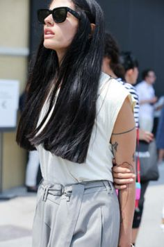 Hair and subtle tattoo