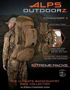 ALPS OutdoorZ Commander X Hunting pack from the New Extreme line Backpacking Gear, Camping Survival, Outdoor Survival, Survival Gear, Survival Skills, Camping Gear, Outdoor Gear, Survival Supplies, Survival Stuff