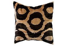 nuLOOM Silk Velvet Ikat Pillow, Black pillow
