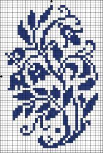 Bell flowers | Chart for cross stitch or filet crochet.