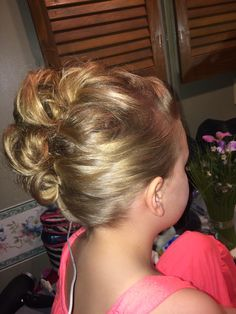 Dance updo, dance moms this is an easy updo for your dancer, Mohawk updo, competition hair, recital hair, children's updo, updo, fun updo, spunky updo