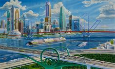 This was an illustration I painted in 1997 for Rohm and Haas to advertise their Paraloid paint resins product. Futuristic City, Futuristic Architecture, Chinese Architecture, Architecture Office, Apocalypse, 70s Sci Fi Art, World Of Tomorrow, Classic Sci Fi, Science Fiction Art