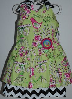 Green Floral and Chevron Dress Size 5 by mickiesmuse on Etsy, $48.00