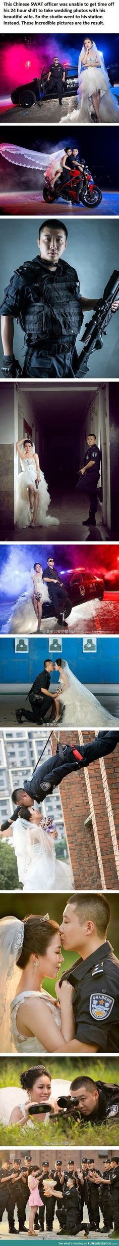 A police marriage photo shoot This Chinese SWAT officer was unable to get time off his 24 hour shift to take wedding photos with his wife. So the photographer went to the station instead and these were the photos taken!