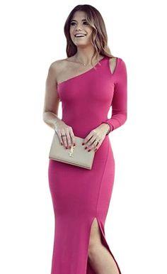 Robes de Soirée Maxi Rose Une Epaule Manches Longues Dos Nu #Modebuycom #Achats #Acheter #basprix #discount #femme #femmes #france #Grande #gros #lingerie #nouveaucollection #pascher #paschere #prixdegros #qualité #robes #sexy #soldes #vente #vetements #vêtements