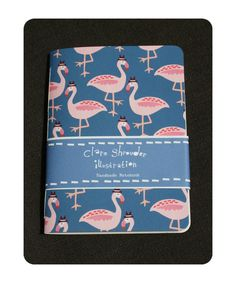 Flamingo notebook by Clare Shrouder Illustration Handmade Notebook, Journal Design, Pink Bird, Book Binding, Pink Flamingos, Hand Stitching, Gift Guide, Illustration, Coloring Books