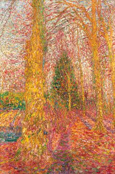 Autumn landscape.  Léon de Smet. Belgian (1881 - 1966) was a leading Belgium artist.  He painted in styles of impressionists, cubists and pointillists at times in his career with his virtuosic technique.