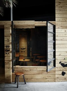 Yarra Lane / Hassell - I enjoy the mixture of the black frame windows and wood walls