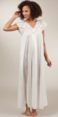 Shadowline Silhouette Flutter Sleeves Long Night Gown in Ivory