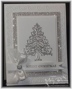 I love this glitzy monochromatic look. I love this - I am nuts about silver & pewter embossing!