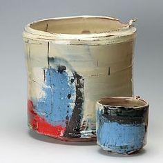 Barry Stedman - slipware vessels | Large vessel with blue & red | Our Artists | Online Ceramics