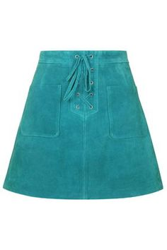 Lace-Up Suede Skirt  TopShop $115   classic A-line,  lace-up front with handy patch pockets. 100% Leather-