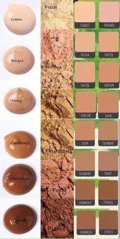 A full approximation of the different colors in the Younique range.From $29-$39 Colors on left are BB Cream, center colors are Mineral Concealers and Right-hand colors are the Touch Powder and Cream foundation colors www.mommusicmascara.com