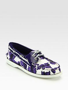 Milly for Sperry Floral-Print Canvas & Patent Leather Boat Shoes